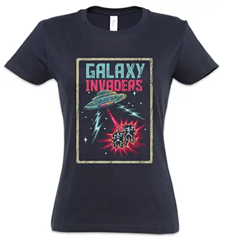 camiseta galaxy invaders mujer, camiseta ovni mujer, camiseta alien mujer, camiseta extraterrestre mujer