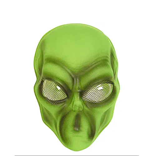 máscara de alienígena verde, máscara de marciano verde,máscara de aliens