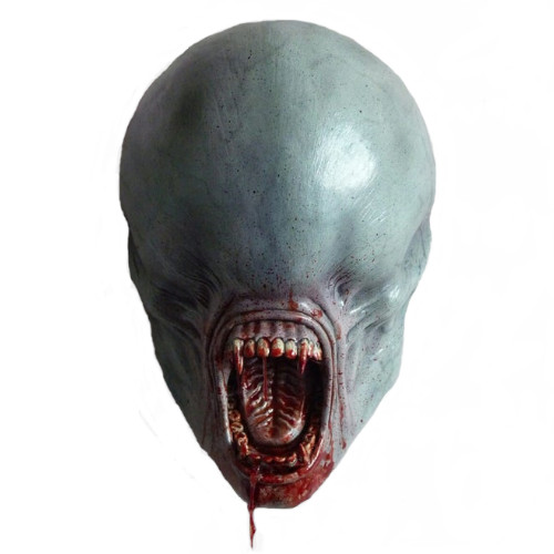 cabeza alienígena gris para pared, figuras de aliens, escultura de alien pared, cabeza de extraterrestre pared, xenomorfo alien convenant figura