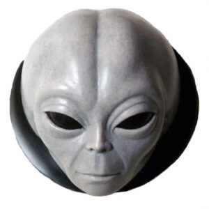 cabeza alienígena gris para pared, figuras de aliens, escultura de alien pared, cabeza de extraterrestre pared