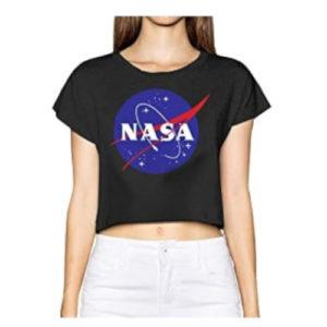 camiseta de la nasa de chica con logo de la nasa en ropa de la nasa en dealiens.shop