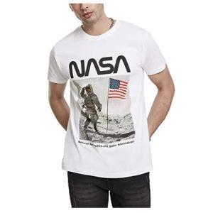 camiseta de la nasa blanca astronauta en la luna en ropa de la nasa en dealiens.shop