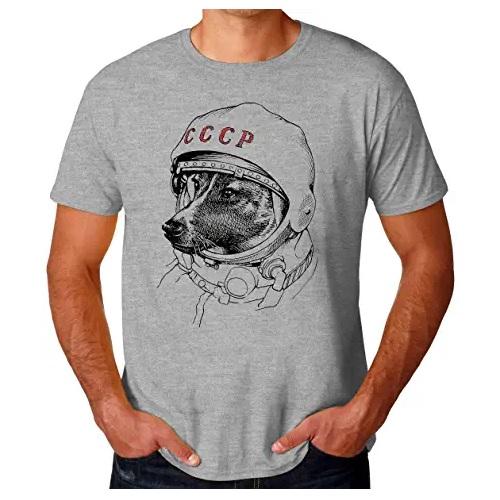 camiseta de la nasa gris con perro astronauta laika en ropa de la nasa en dealiens.shop
