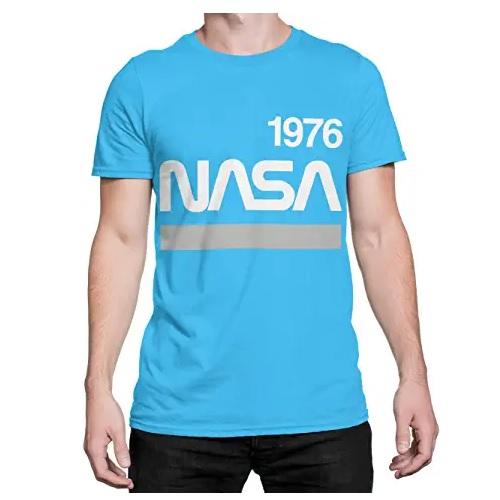 camiseta de la nasa azul claro con logo de la nasa en ropa de la nasa en dealiens.shop