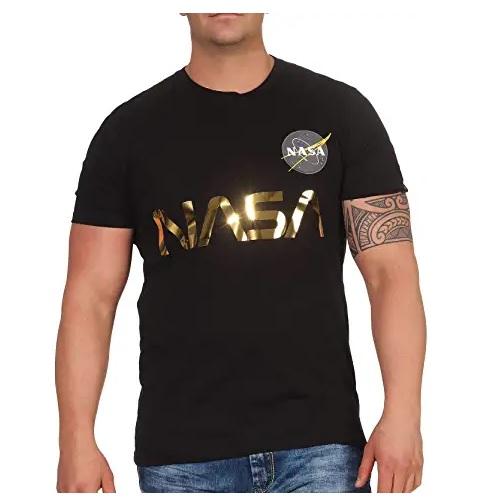 camiseta de la nasa negra con logo de la nasa con letras doradas en categoría ropa de aliens en dealiens.shop