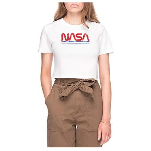 camiseta corta de la nasa de chica con logo de la nasa en ropa de la nasa en dealiens.shop