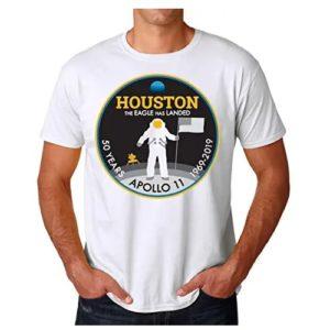 camiseta de la nasa blanca astronauta llamano a houston en ropa de la nasa en dealiens.shop
