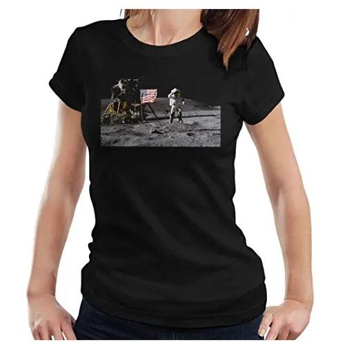 camisetas de la nasa de manga corta con astronauta de chica en ropa de aliens en dealiens.shop,