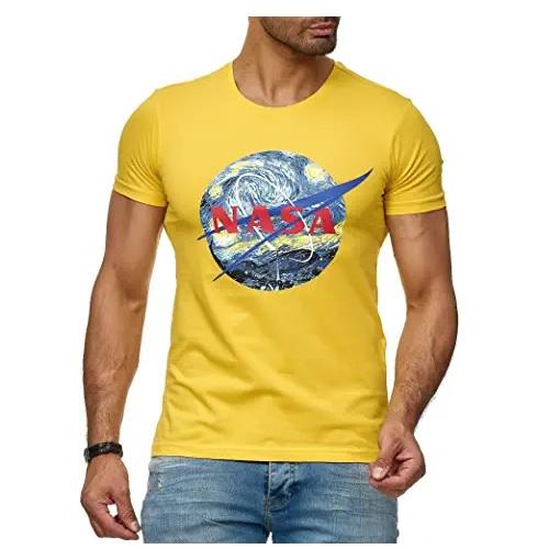 camiseta de la nasa amarilla  con logo de la nasa en ropa de la nasa en dealiens.shop,