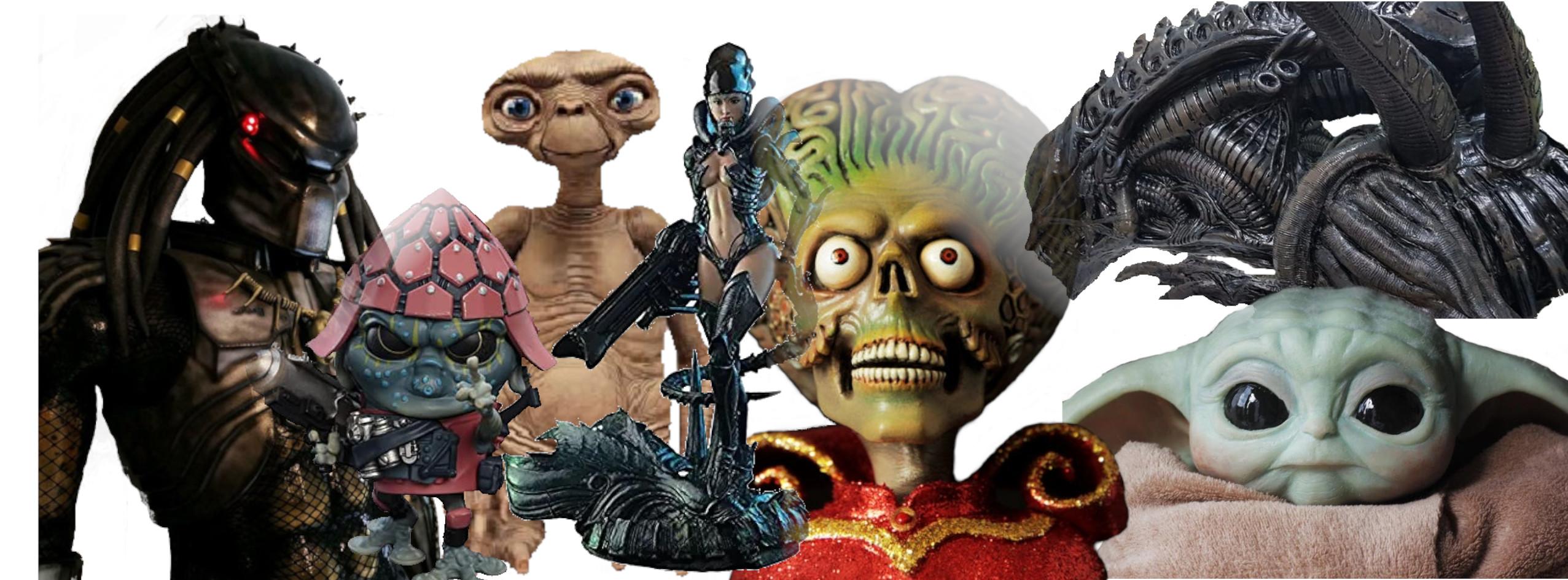 FIGURAS Y ESTATUAS DE ALIENS DE CINE Y TV, estatuas de extraterrestres, figuras de aliens de peliculas, figuras de películas de extraterrestres, replicas de aliens, replicas de starwars, figura de yoda