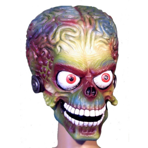 máscara de látex, , máscara de marciano, máscara de extraterrestre clásico, máscara de monstruo, máscara de halloween, mascara de mars attacks