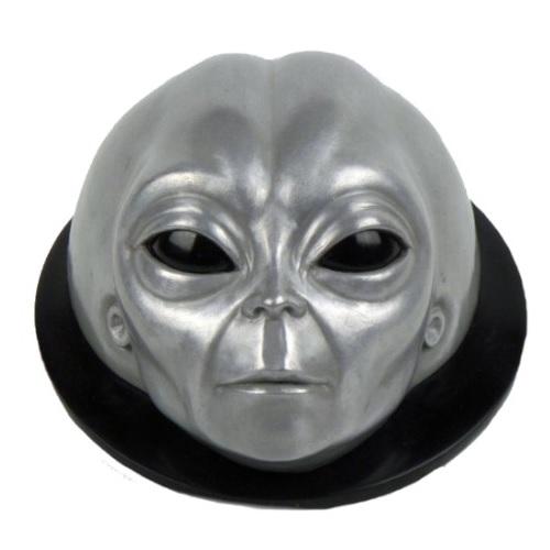 placa pared alien gris plateado, extraterrestres clasicos