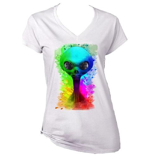 camiseta de alienigena en colores para mujer